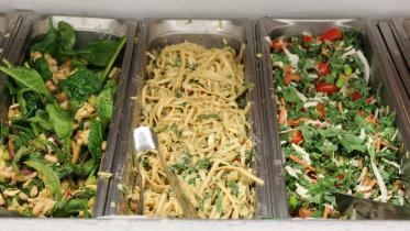 Trays of pasta and salad.
