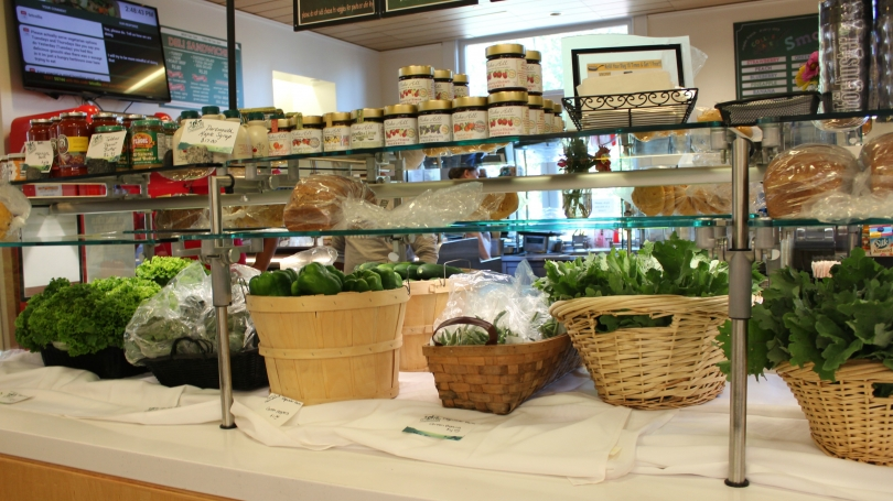 Selections from the farmer's market on display at the dining hall.
