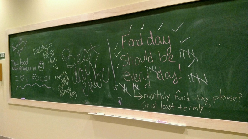 Chalk board with comments about food written on it.