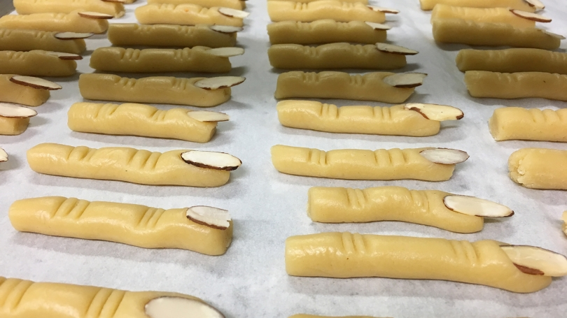 Cookies shaped like fingers for Halloween.
