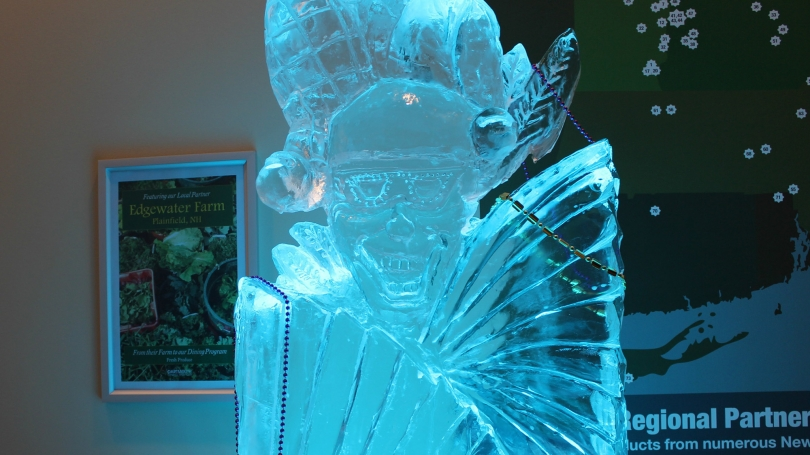 An ice sculpture at the Mardi Gras celebration.
