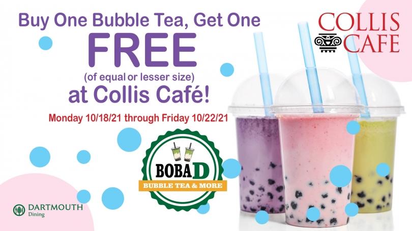 bubble tea promo buy one get one